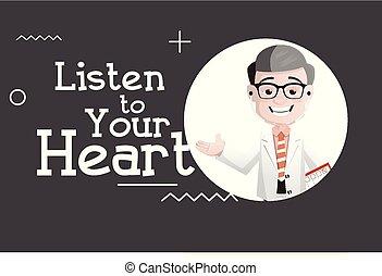 coração, doutor, -, ilustração, vetorial, feliz, seu, escutar