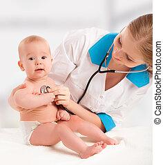 coração, doutor, pediatrician., estetoscópio, bebê, escuta