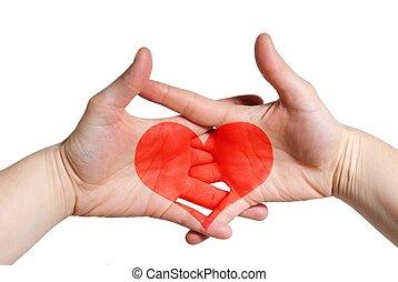 coração, duas mãos