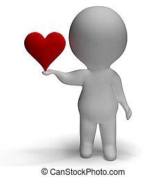 coração, e, 3d, personagem, mostrando, amor, para, namorada