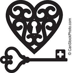 coração, e, chave mestra