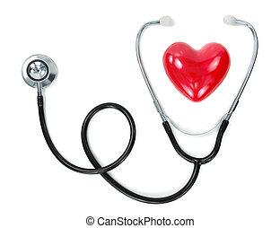 coração, e, estetoscópio