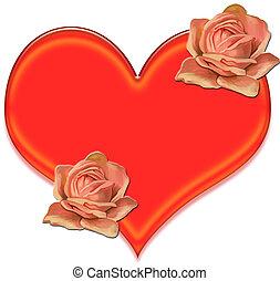 coração, e, flores, corte arte