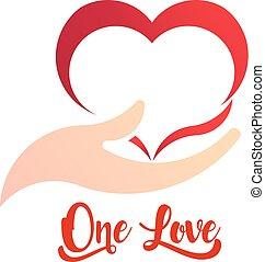 coração, e, importar-se, mão, logotipo, negócio, vetorial