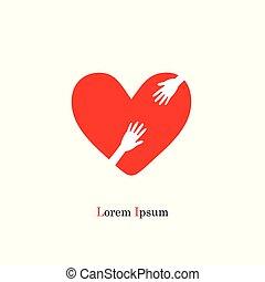 coração, e, mão