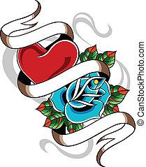 coração, e, rosa, emblema