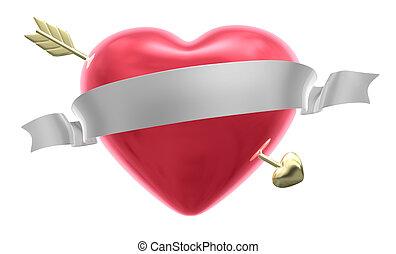 coração, e, seta