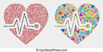coração, elementos, triangulo, pulso, vetorial, mosaico, ícone