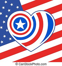 coração, em, bandeira americana, style., vetorial, ilustração