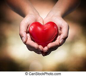 coração, em, coração, mãos