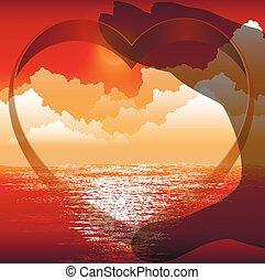 coração, em, mãos, fundo, de, sol