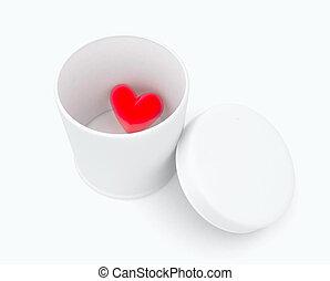 coração, em, um, caixa