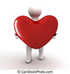 coração, em, um, gift., isolado, 3d, image.