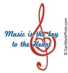 coração, em, um, musical, clef., música, é, a, tecla, para, coração, quote., abstratos, vetorial, sinal