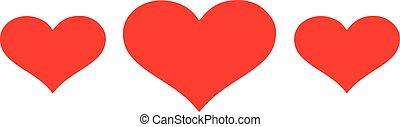 coração, emblema, com, três, corações