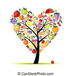 coração, energia, árvore, forma, fruta, desenho, seu