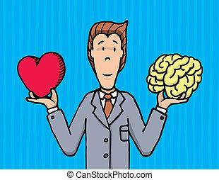 coração, entre, homem negócios, escolher, cérebro