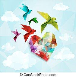 coração, eps10, coloridos, ilustração, experiência., vetorial, origami, pássaros