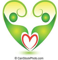 coração, equipe, logotipo