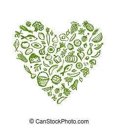 coração, esboço, alimento saudável, forma, fundo, desenho, seu