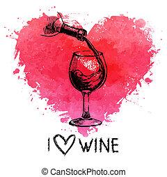 coração, esboço, banner., vindima, ilustração, mão, aquarela, respingo, fundo, desenhado, vinho