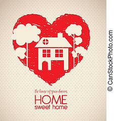 coração, esboço, silueta, casa
