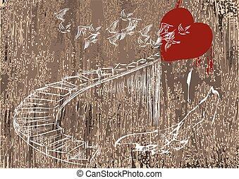coração, escadas