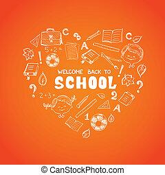 coração, escola, objetos, forma