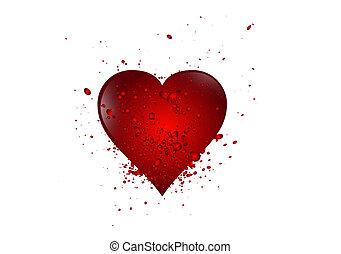 coração, escova, vermelho