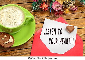 Coração, escutar, seu, citação