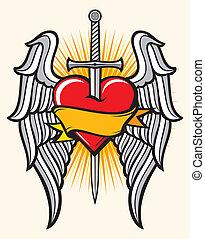 coração, espada, asas