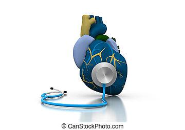 coração, estetoscópio