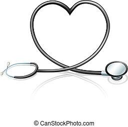 coração, estetoscópio, conceito