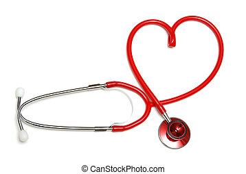 coração, estetoscópio, dado forma