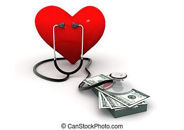 coração, estetoscópio, dinheiro