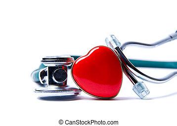 coração, estetoscópio, &