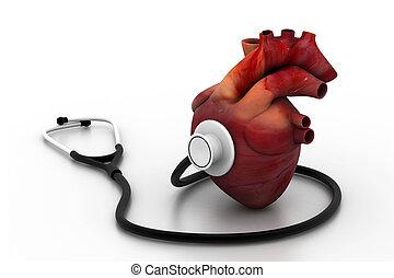 coração, estetoscópio, human