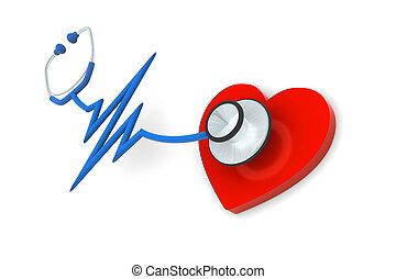 coração, estetoscópio, pulso