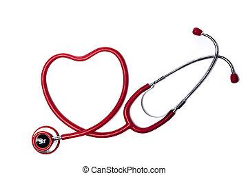 coração, estetoscópio vermelho