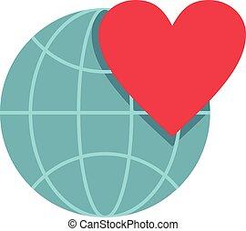 coração, estilo, apartamento, globo, terra, ícone, mundo