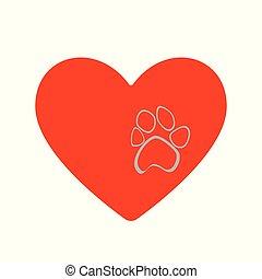 coração, estilo, cinzento, pata, apartamento, impressão, animal, selvagem, vermelho