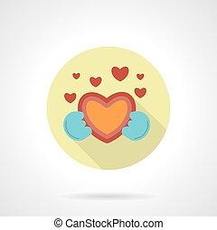 coração, estilo, dar, apartamento, vetorial, redondo, ícone