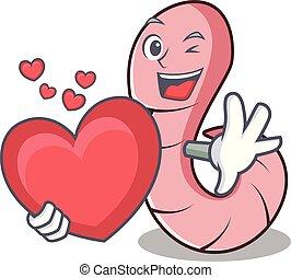 coração, estilo, mascote, verme, caricatura