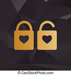 coração, estilo, silueta, dourado, simples, fechadura, lock., forma., sinal, forma, fundo, polygons., heart.