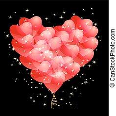 coração, estrelas, amor, abstratos, theme., forma., romance, vetorial, desenho, modelo, fazer, balões, vermelho