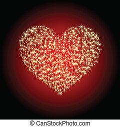 coração, estrelas