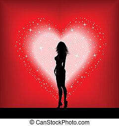 coração, excitado, femininas, estrelado