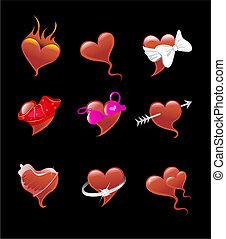 coração, excitado, jogo, ícone