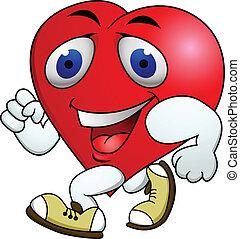 coração, exercício, caixa papelão