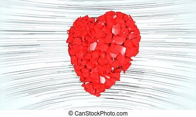 coração, experiência., fazendo, explodindo, branca, 3d